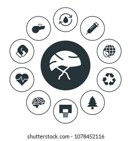 health, sports, nature Infographic Circle fill Icons Set. Contains such Icons as  beat,  environment, forest, brain,  nature,  glove, boxing, sport,  game and more. Fully Editable. Pixel Perfect