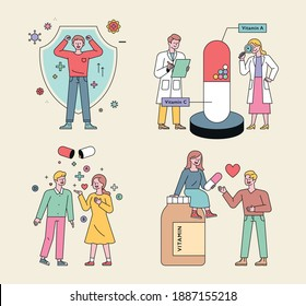 Health supplements and people characters. People with viral defenses, researchers studying pills, people with immunity decorated, couples giving pills.