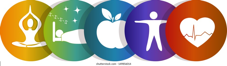 Health symbols. Healthy heart, healthy food, good sleep, yoga. Colorful design. Isolated on a white background.