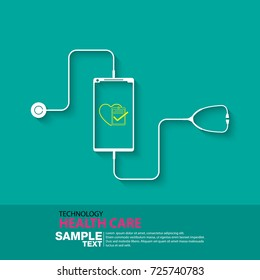 Health technology design with smartphone, vector illustration.