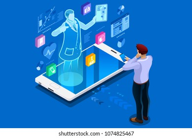 Health technology and medical advice, healthcare isometric people. Health care illustration for web banner, infographics, hero images. Flat isometric vector illustration isolated on blue background.