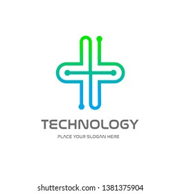 Health technology vector logo template. This design with medical symbol with dot icon. Suitable for hospital, doctor, care, cure.