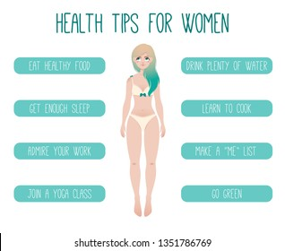 Health Tips For Women Vector Illustration. Healthy Lifestyle for Young Ladies. Cute Cartoon Character isolated on a White Background.