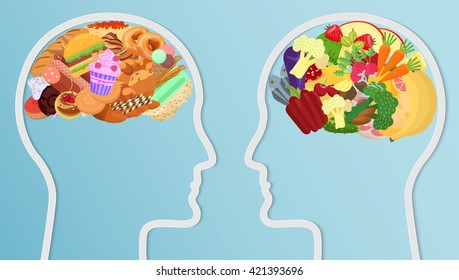 Health and unhealthy Food eat in brain. Human head silhouette Diet choice healthy lifestyle concept.
