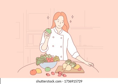 Health, vegan, food, cooking concept. Woman girl cooker vegetarian cartoon character standing with healthy food fruits and vegetables at home restaurant. Healthy lifestyle and proper nutrition or diet