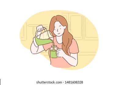 Health, vegetarianism, vegan green smoothie or cocktail concept. Happy healthy young woman got a vegetarian meal, Breakfast. Teenager Student girl with smile ready to eat healthy. Simple flat vector.