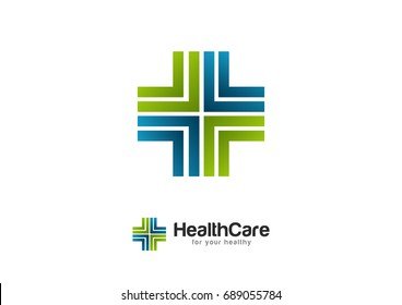 Health Wealth Care Logo Template Vector Pulse Cross
