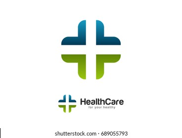 Health Wealth Care Logo Template Vector Pulse Cross