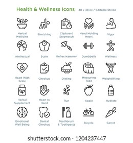Health And Wellness Icons - Outline styled icons, designed to 48 x 48 pixel grid. Editable stroke.