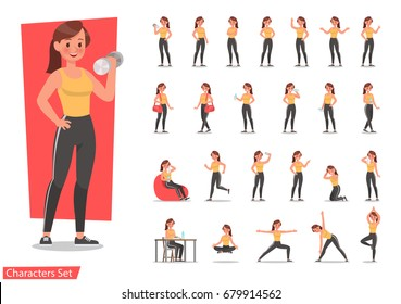 Health women are exercising character design set. Vector design.