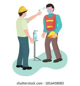 Health Workers Checking Body Temperature Workers Construction Industry,  illustration vector cartoon