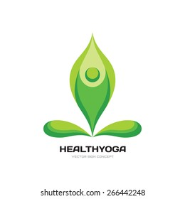 Health yoga - vector logo template concept illustration. Abstract human character sign. Beauty, spa, relax, massage, meditation, nirvana, nature, leaves concept icon.