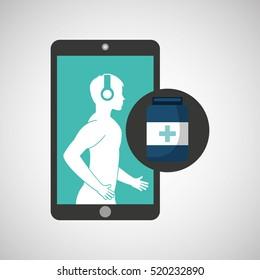 healthcare app bottle capsule medicine graphic vector illustration eps 10
