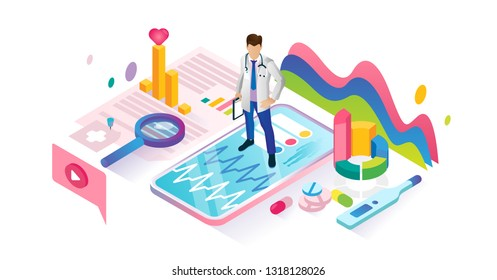 Healthcare app isometric cyberspace and tiny person concept vector illustration. Virtual emergency health consultation application. Professional help using biotech artificial intelligence for diagnose