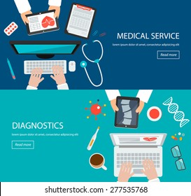 Healthcare backgrounds. Web banners with top view of  doctors desktop with medical tools,  stethoscope, computer, tablet, vector illustration