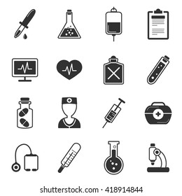 Healthcare black white icons set with microscoper flasks avatar of doctor tube stethoscope syringe isolated vector illustration