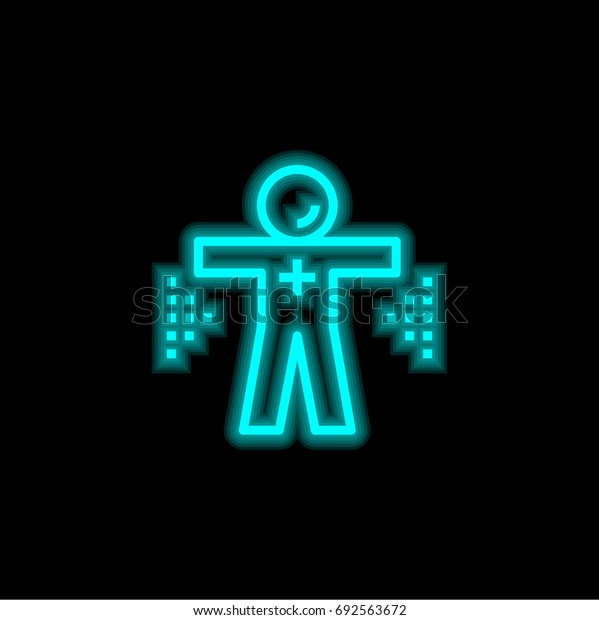 Healthcare blue glowing neon ui ux icon. Glowing sign logo vector