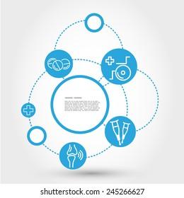 healthcare circle concept with wheelchair, medical concept