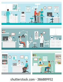 Healthcare and clinics banners set with doctors and patients: veterinarian clinic, optician, general practitioner and dietitian
