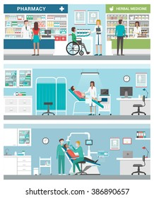Healthcare and clinics banners set with doctors and patients: pharmacy, gynecologist and dentist