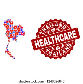 Healthcare combination of bright medical mosaic map of Thailand and scratched seal. Vector red watermark with scratched rubber texture and Healthcare caption.