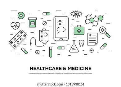 Healthcare concept with medical equipment icons in thin line style. Suitable for medical background, header, banner, and templates. Flat vector illustration.