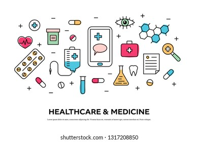 Healthcare concept with medical icons in thin line style. Suitable for medical background, header, banner, and templates. Flat vector illustration on white background.