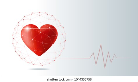 Healthcare concept with red heart protected in polygonal sphere shield , vector , illustration