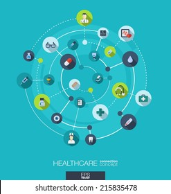 Healthcare connection concept. Abstract background with integrated circles and icons for medical, health, care, medicine, network and global concepts. Vector infographic illustration. Flat design