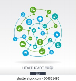 Healthcare connection concept. Abstract background with integrated circles and icons for medical, health, care, medicine, network, social media and global concepts. Vector infographic illustration.