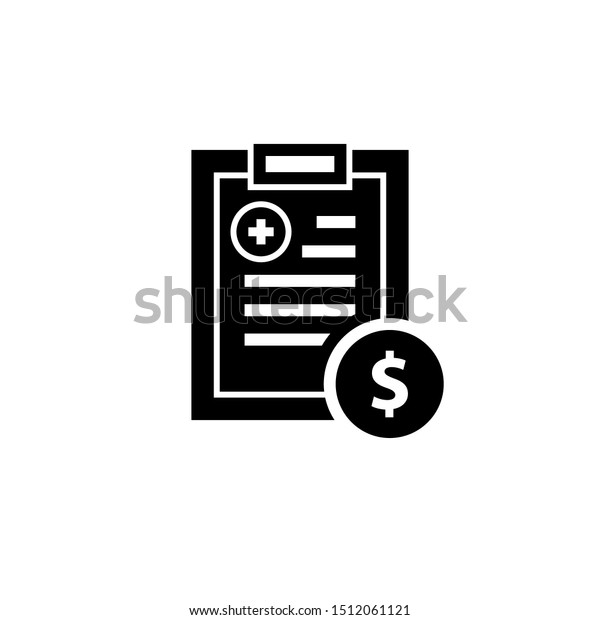 Healthcare costs clipart image with bill. Clipart image isolated on white background