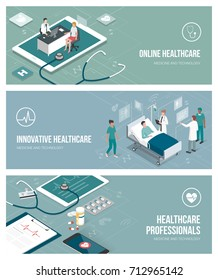 Healthcare, doctors and patients banner set with isometric people and objects