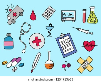 healthcare doodle with color colour full design hand drawn vector illustration