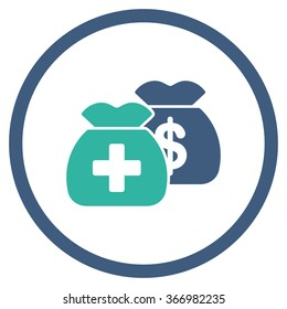 Healthcare Funds vector icon. Style is bicolor flat circled symbol, cobalt and cyan colors, rounded angles, white background.