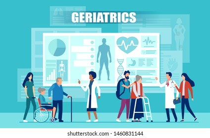 Healthcare and geriatrics concept. Vector of medical team assisting elderly patients with disabilities using medical apps and modern technology