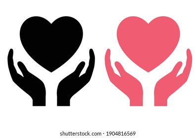 Healthcare hands holding heart flat icon for apps and website.Valentine vector set.