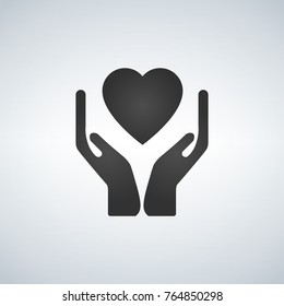 Healthcare hands holding heart flat icon for apps and website, black vector illustration isolated on light background
