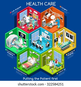 Healthcare health care Infographic. Clinic Trial Isometric People Set 3D Flat Patient treatment. Hospital Medical Staff Doctor Nurse Pharmaceutical lab Room Vector medicine app icon Image Illustration