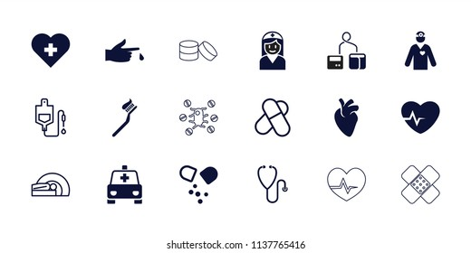 Healthcare icon. collection of 18 healthcare filled and outline icons such as injured finger, pill, heart with cross. editable healthcare icons for web and mobile.
