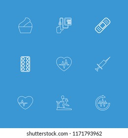 Healthcare icon. collection of 9 healthcare outline icons such as pill, bandage, cream, treadmill, heartbeat, injection. editable healthcare icons for web and mobile.
