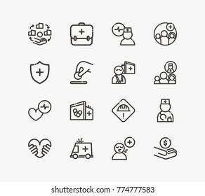 Healthcare icon line set with ambulance, cardiac care and healthcare doctor. Set of cardiologist related icon line vector items for web mobile logo UI design. Premium quality healthcare vector