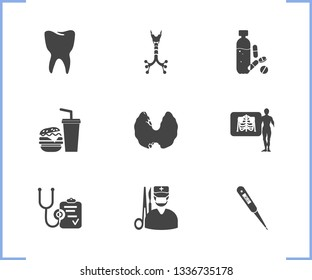 Healthcare icon set and surgery with tooth, x-ray and trachea. Throat related healthcare icon vector for web UI logo design.