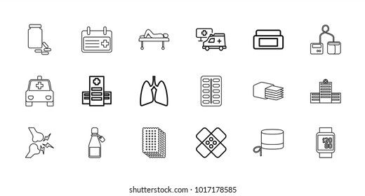 Healthcare icons. set of 18 editable outline healthcare icons: cream box, hospital, lungs, bandage, blod pressure tool, pill, ampoule, medicine, nurse hat