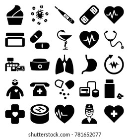 Healthcare icons. set of 25 editable filled healthcare icons such as heartbeat, heart with cross, blod pressure tool, pill, bandage, stomach, medicine, nurse hat, doctor