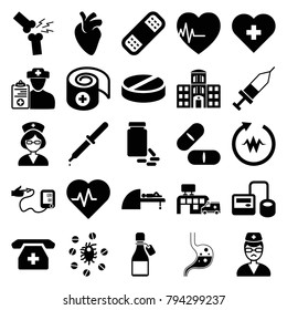 Healthcare icons. set of 25 editable filled healthcare icons such as heartbeat, heart with cross, blod pressure tool, pill, bandage, doctor, medical phone, mri, nurse