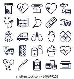 Healthcare icons set. set of 25 healthcare outline icons such as cream box, cream, heartbeat, stethoscope, blod pressure tool, pipette, pill, bandage, stomach, heart organ