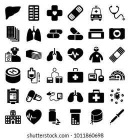 Healthcare icons. set of 36 editable filled healthcare icons such as cream box, bottle pills, heartbeat, case with heart, first aid kit, blod pressure tool, drop counter, pill