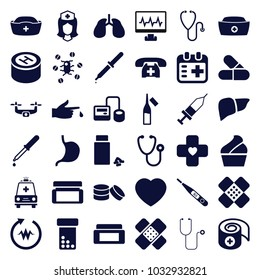 Healthcare icons. set of 36 editable filled healthcare icons such as cream box, bottle pills, stethoscope, blod pressure tool, pipette, ampoule, stomach, liver, lungs