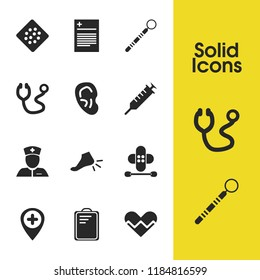 Healthcare icons set with hospital location, ear and syringe elements. Set of healthcare icons and hear concept. Editable vector elements for logo app UI design.