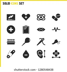 Healthcare icons set with laboratory, drug and ear stick with plaster elements. Set of healthcare icons and ankle concept. Editable vector elements for logo app UI design.